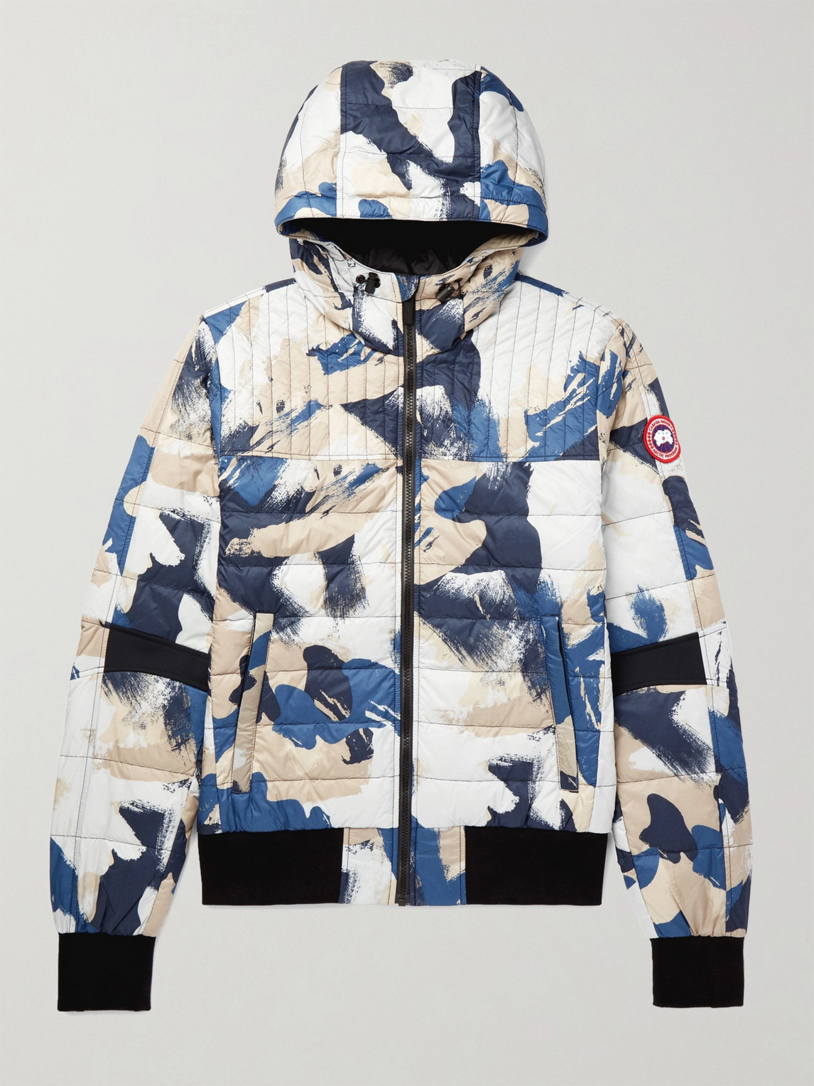 canada goose - cabri slim-fit packable printed quilted nylon-ripstop hooded down jacket - men - blue