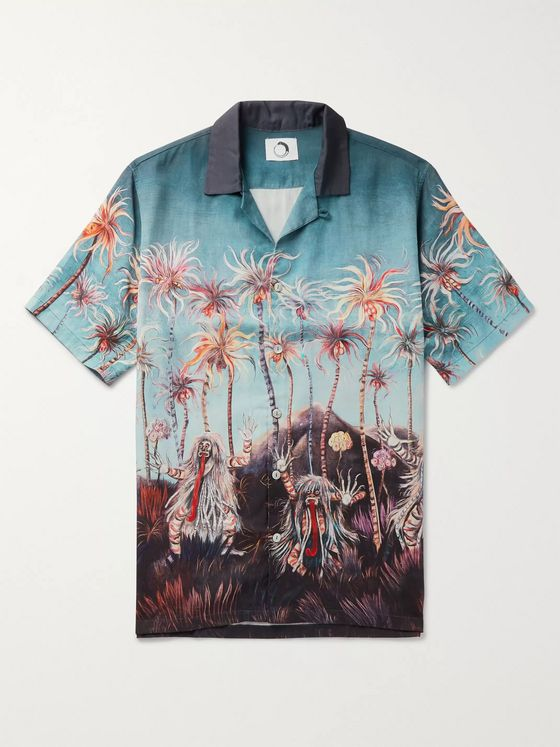 Endless Joy Goodnight Camp-Collar Printed Tencel Shirt