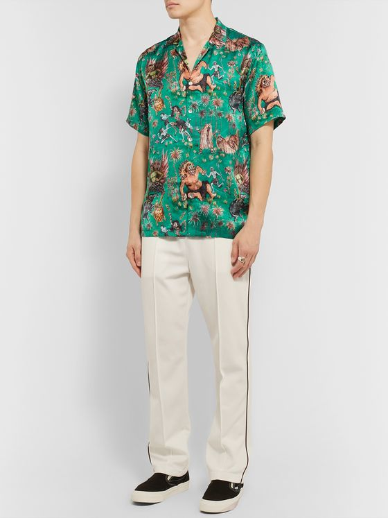 Endless Joy Sekela and Neskala Camp-Collar Printed Silk Shirt