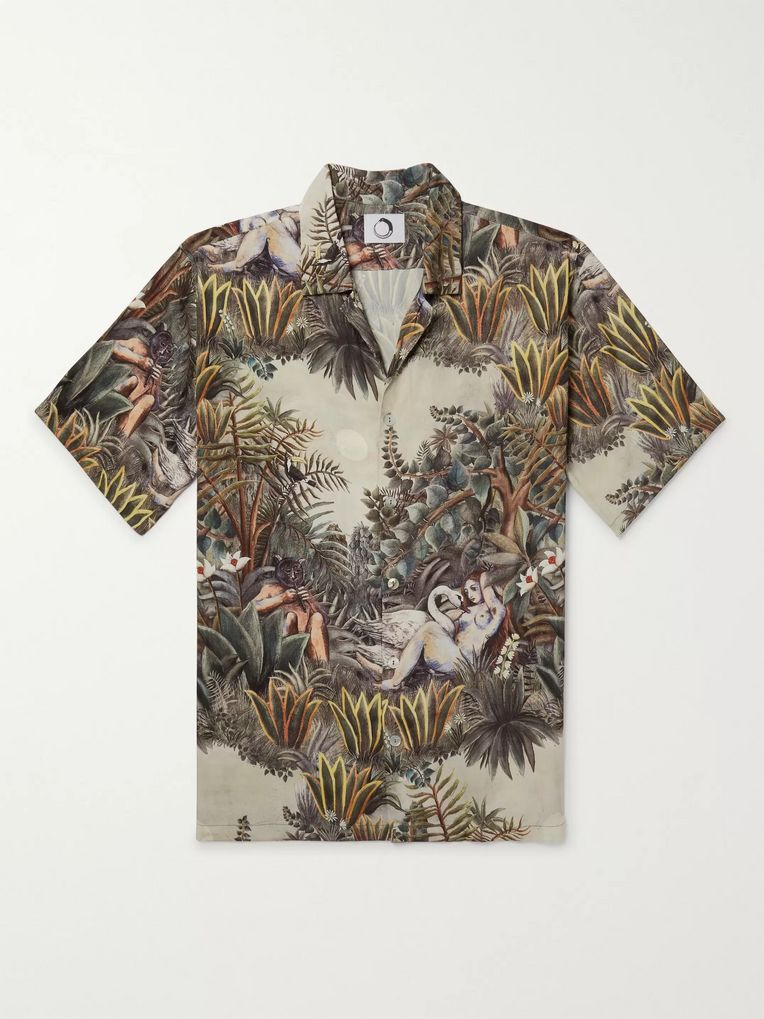 Endless Joy Leda and the Swan Camp-Collar Printed Woven Shirt