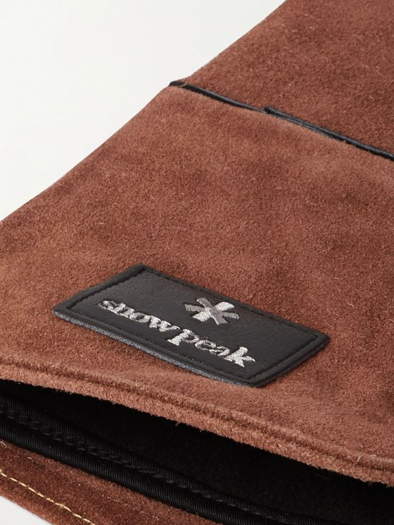 Snow Peak Fire Side Logo-Appliquéd Suede Gloves