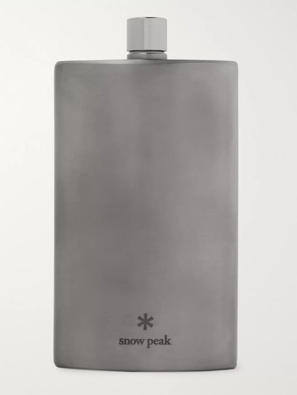 Snow Peak 5.8oz Titanium Flask In Silver