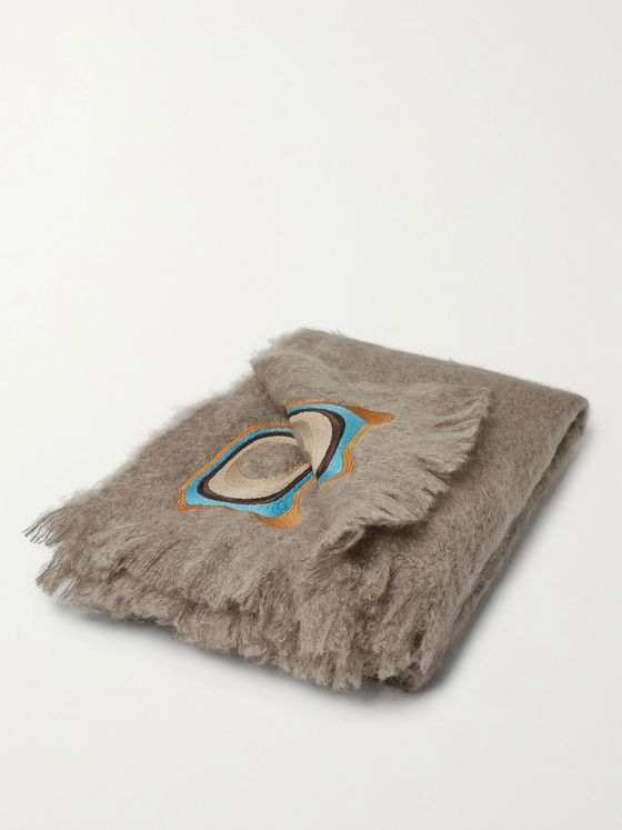 Jupe by Jackie Kauri Fringed Embroidered Mohair Blanket