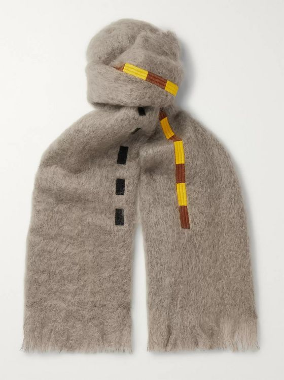 Jupe by Jackie Settler Fringed Embroidered Mohair Scarf