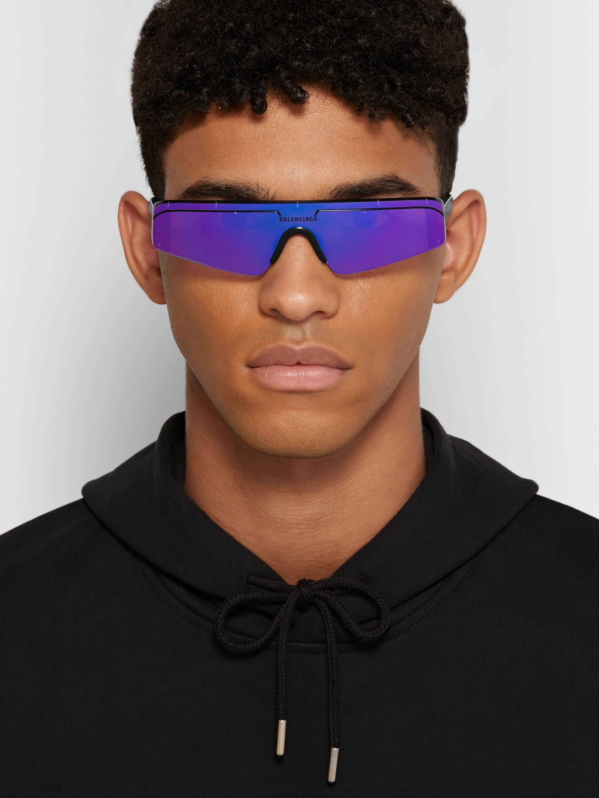 Balenciaga Ski Rectangle-Frame Enamelled Acetate Sunglasses