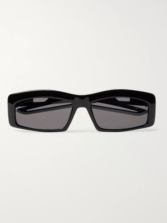 Balenciaga Rectangle-Frame Rubber-Trimmed Acetate Sunglasses