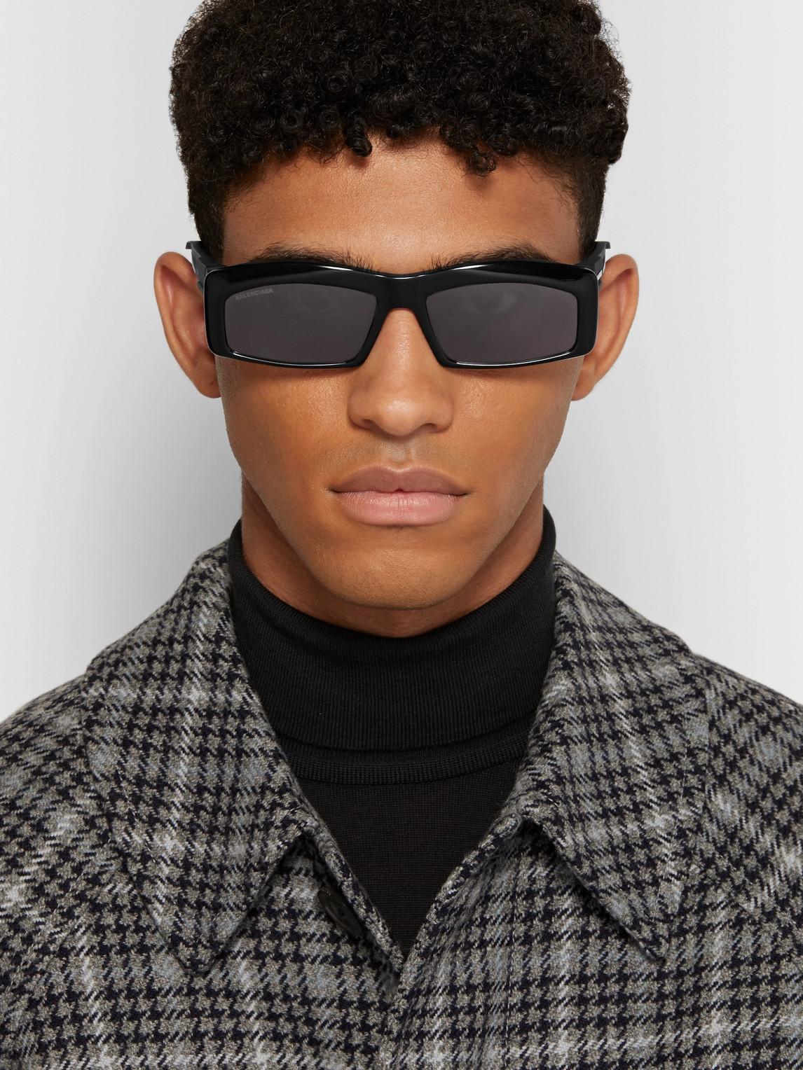 Balenciaga Sunglasses RECTANGLE-FRAME RUBBER-TRIMMED ACETATE SUNGLASSES