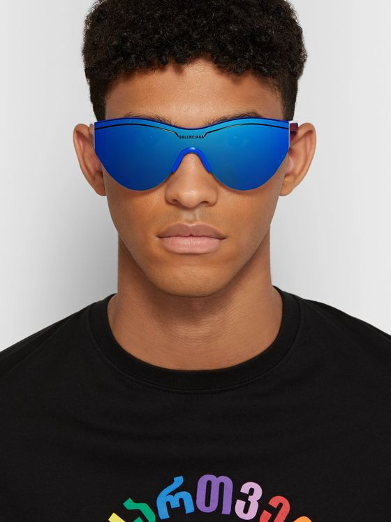 Balenciaga Round-Frame Acetate Mirrored Sunglasses