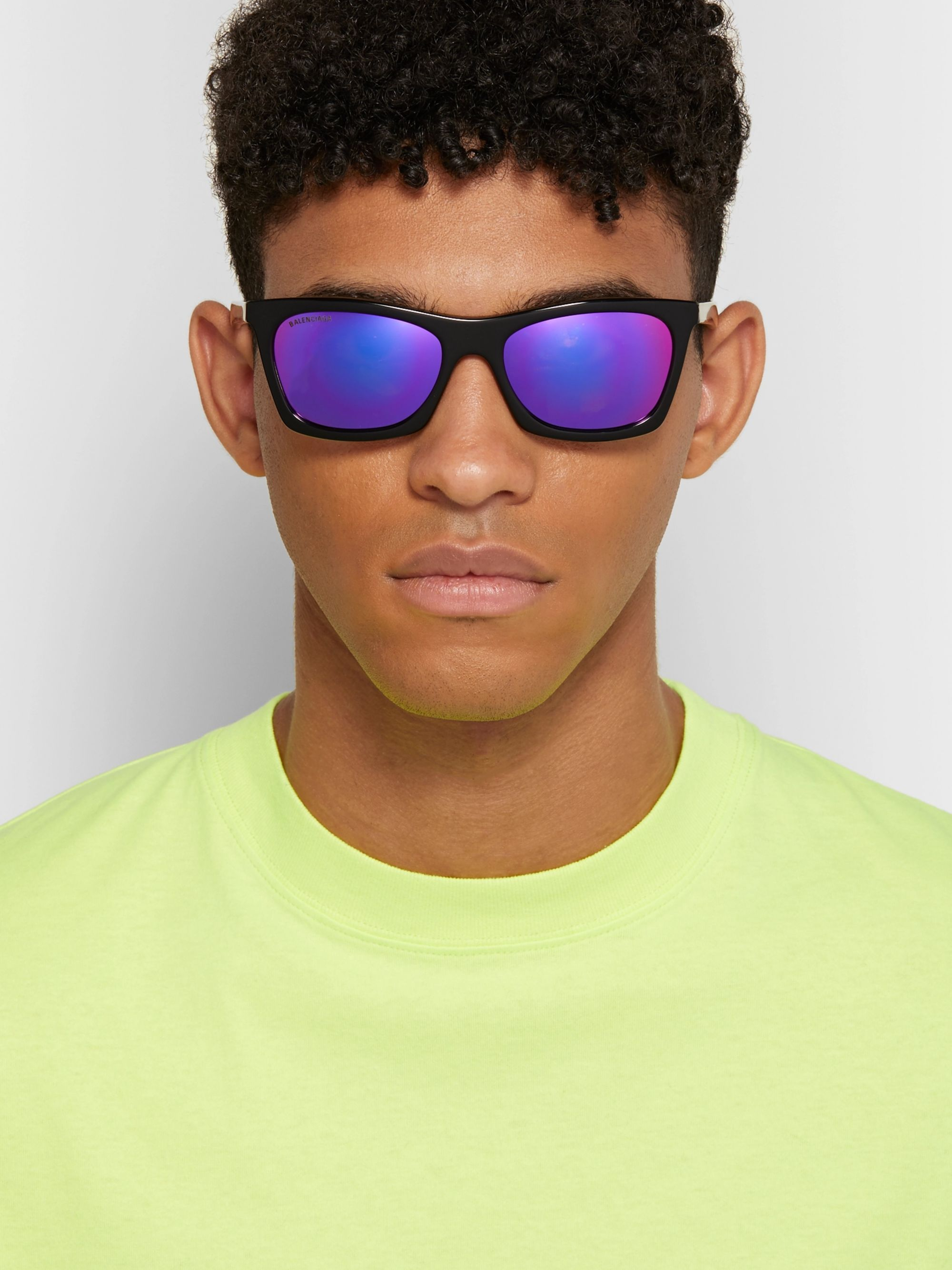 Balenciaga D-Frame Acetate and Silver-Tone Mirrored Sunglasses