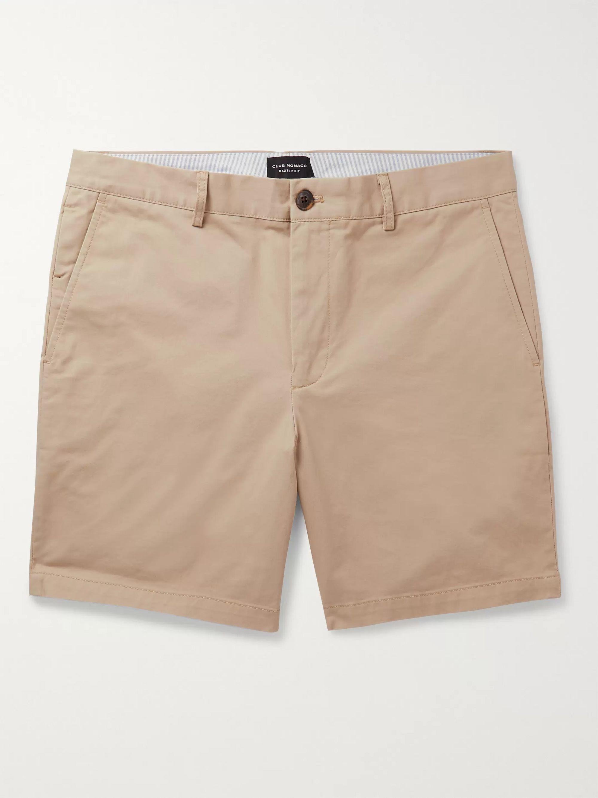 클럽 모나코 Club Monaco Baxter Cotton-Blend Twill Shorts,Neutral