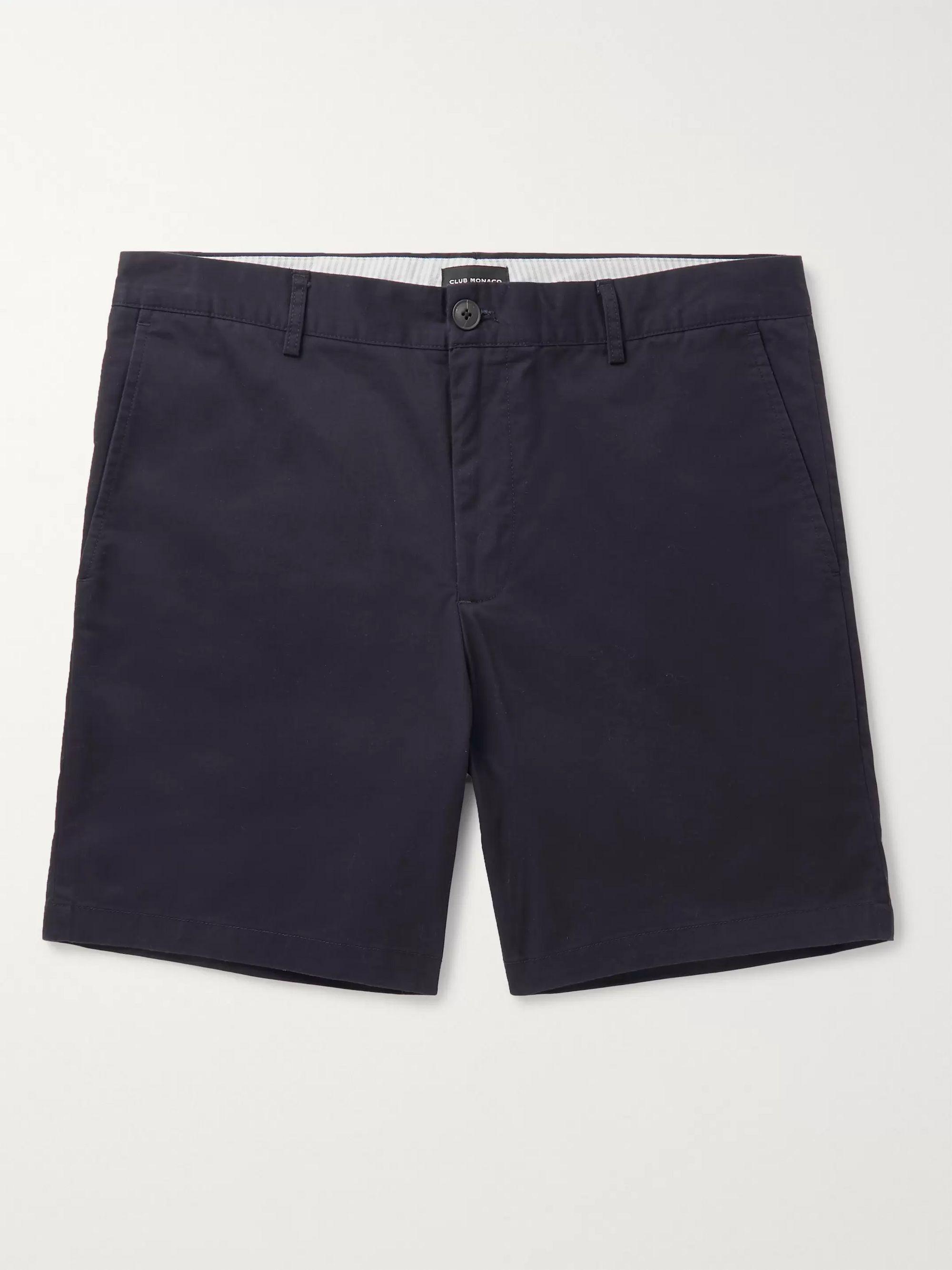 클럽 모나코 Club Monaco Baxter Cotton-Blend Twill Shorts,Navy