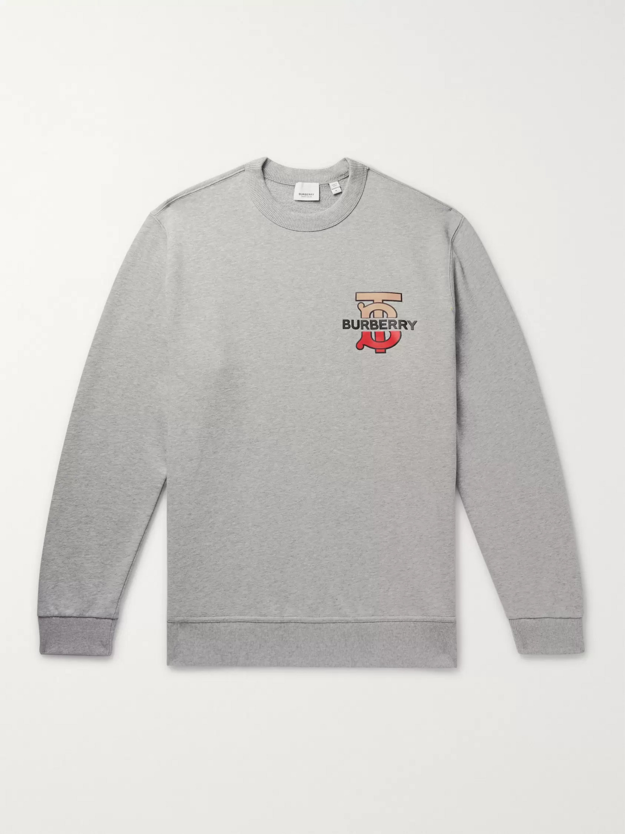 Burberry Logo-Detailed Mélange Loopback Cotton-Jersey Sweatshirt