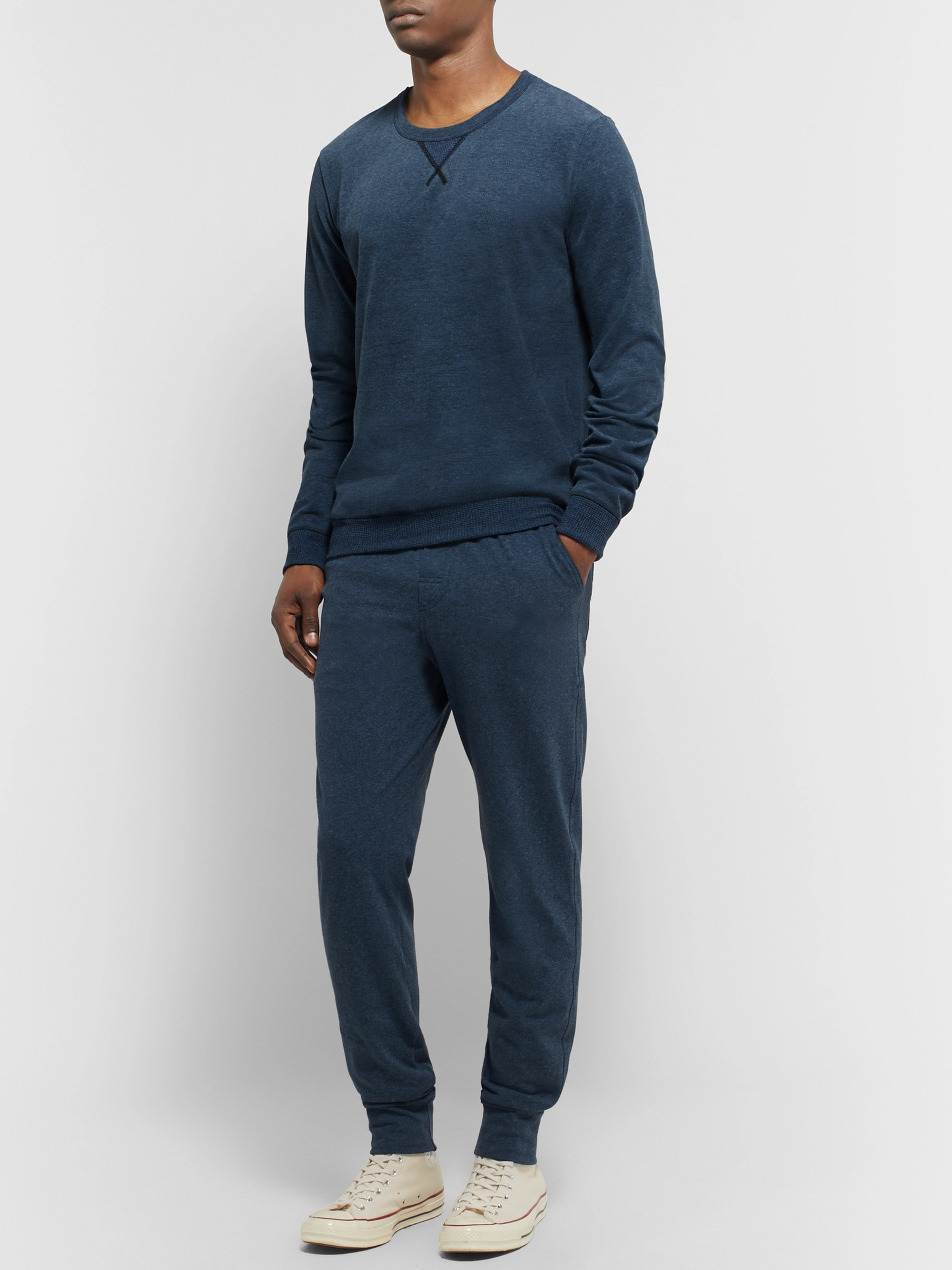Schiesser Hugo Slim-Fit Tapered Mélange Cotton-Jersey Sweatpants