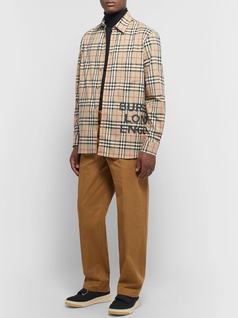 Burberry Logo-Print Checked Cotton-Poplin Shirt