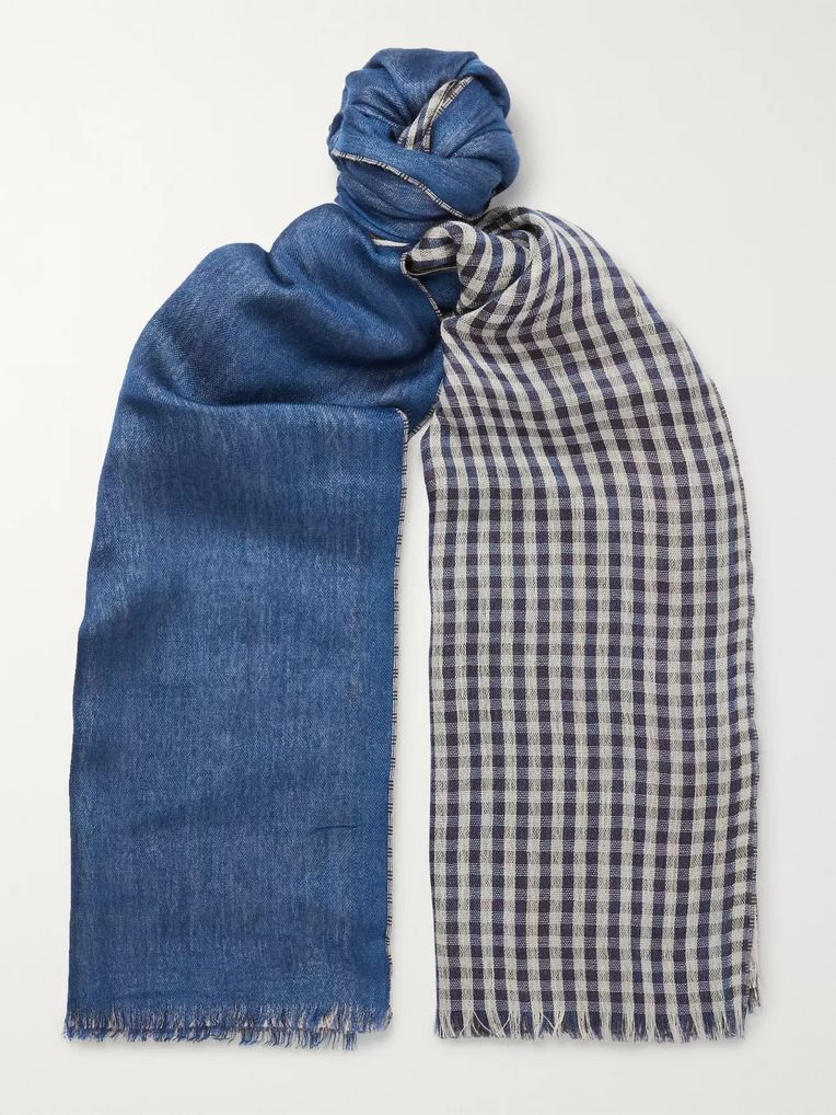 Loro Piana Fringed Gingham Cashmere and Silk-Blend Scarf