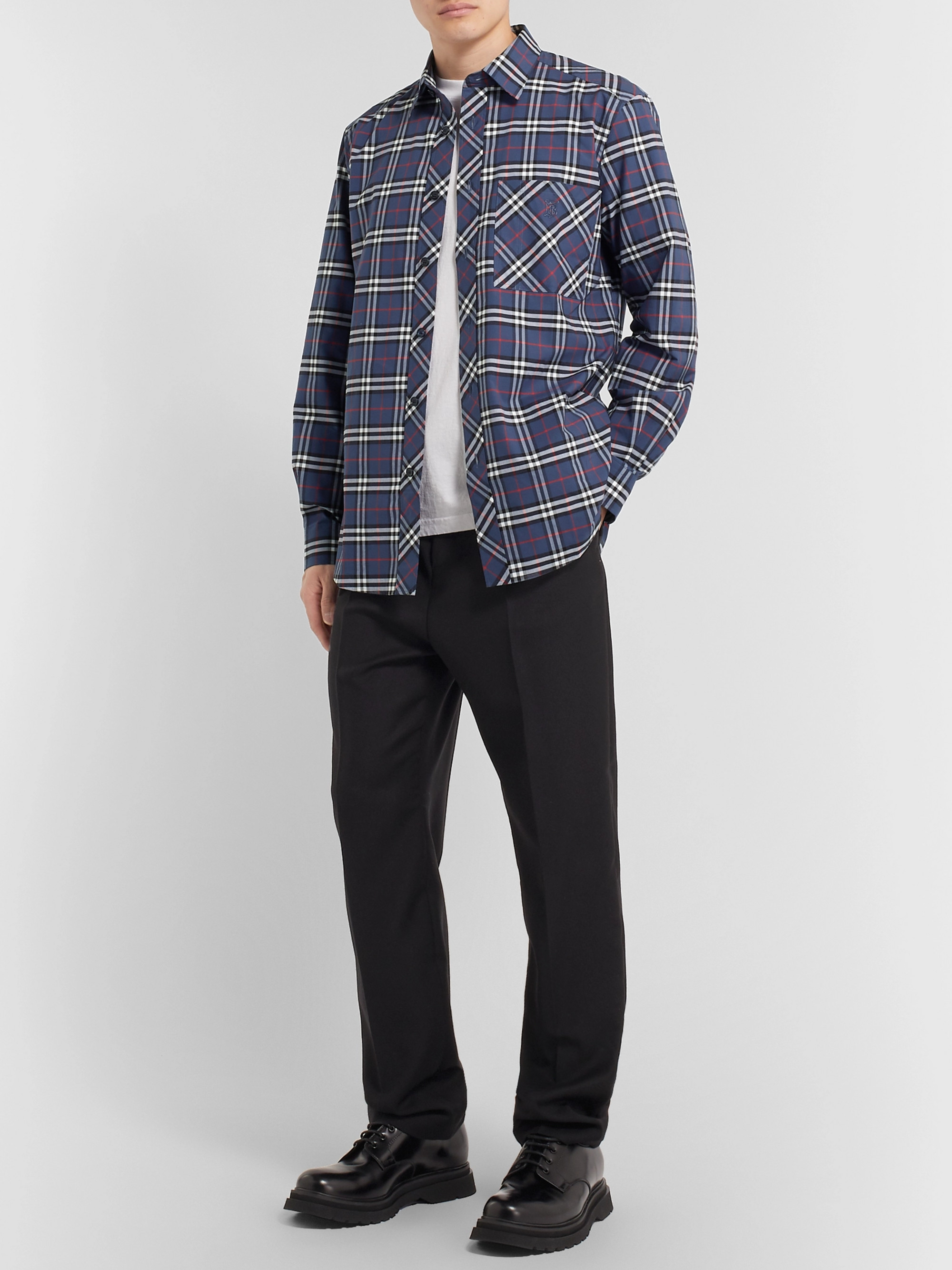 Burberry Logo-Embroidered Checked Stretch-Cotton Poplin Shirt