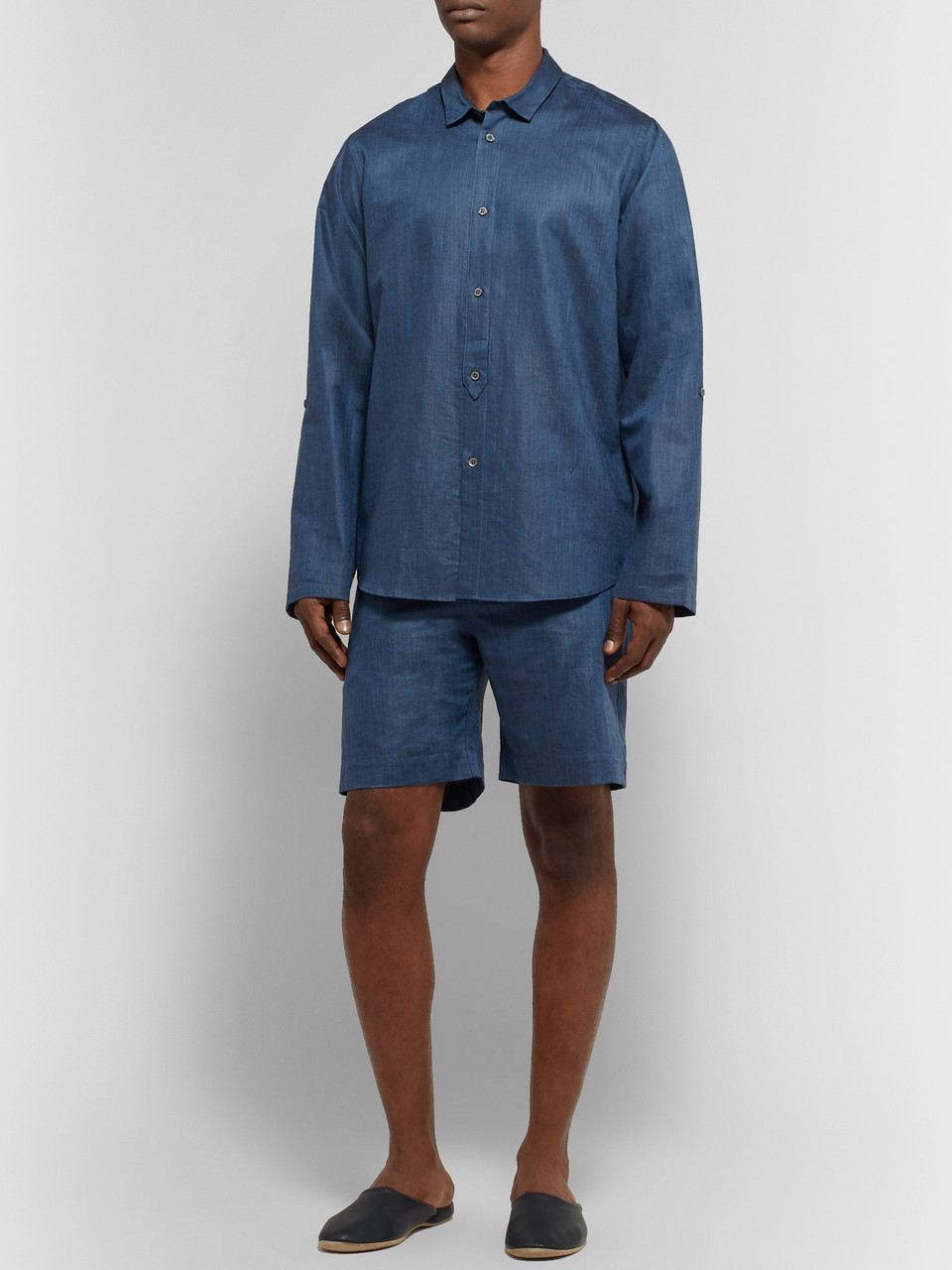 Zimmerli Slub Linen and Cotton-Blend Drawstring Pyjama Shorts