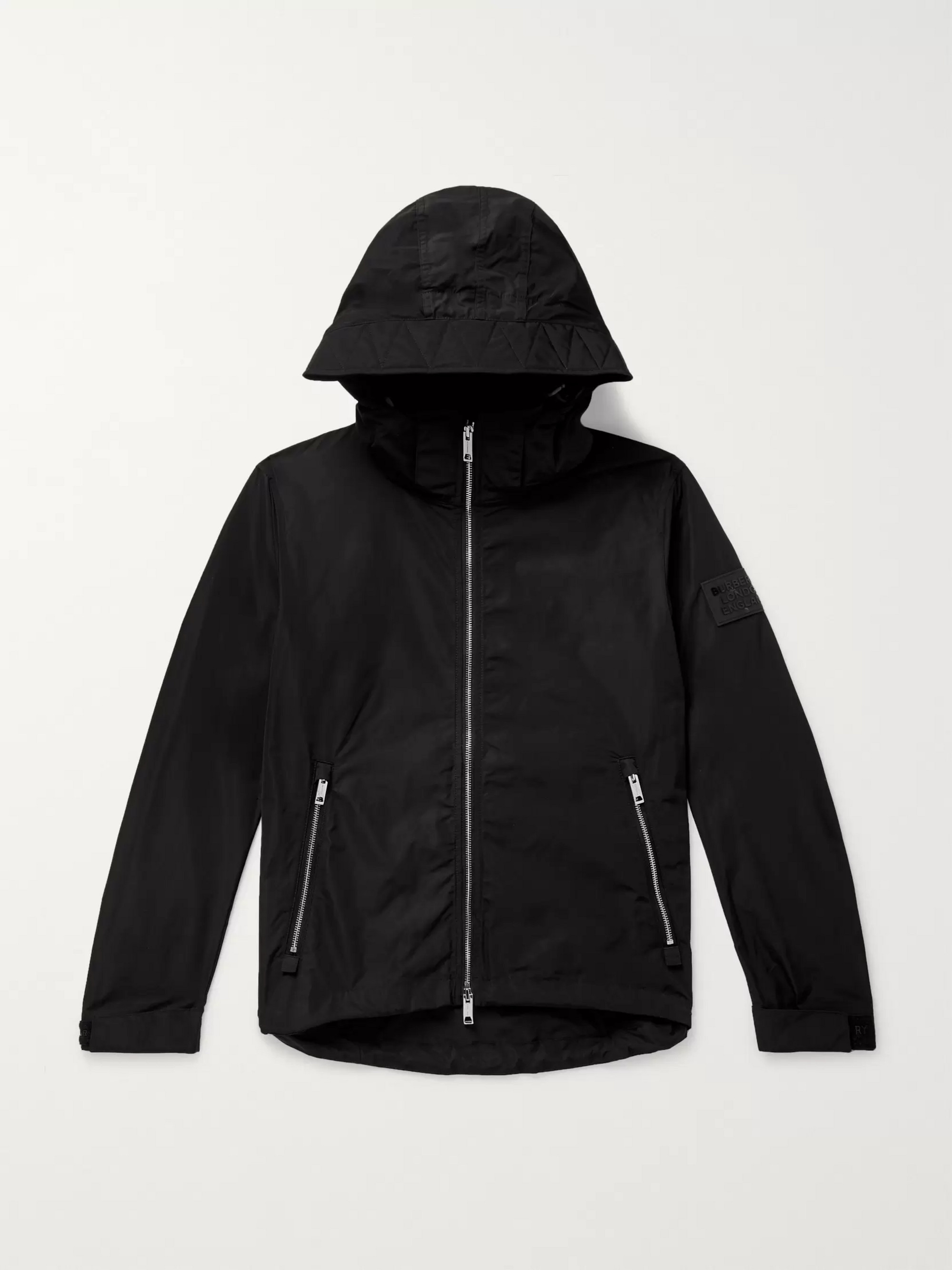 Burberry Loqo-Appliquéd Shell Hooded Jacket