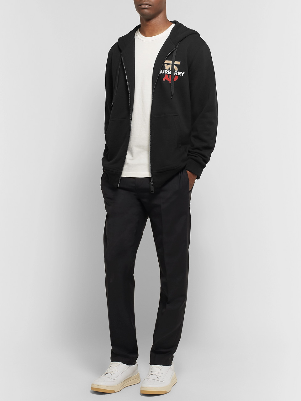 Burberry Logo-Print Loopback Cotton Jersey Zip-Up Hoodie