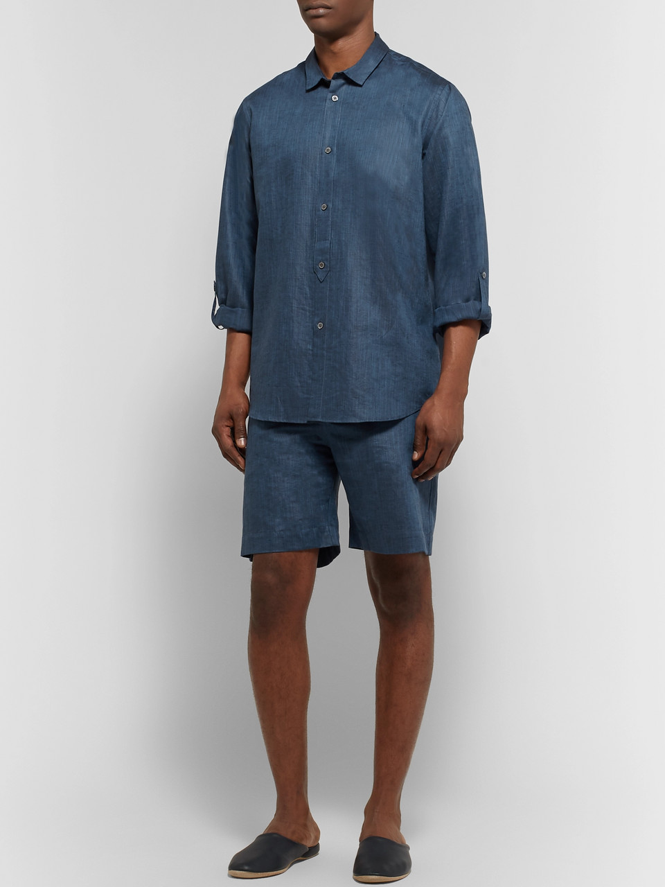 Zimmerli Mélange Linen and Cotton-Blend Pyjama Shirt