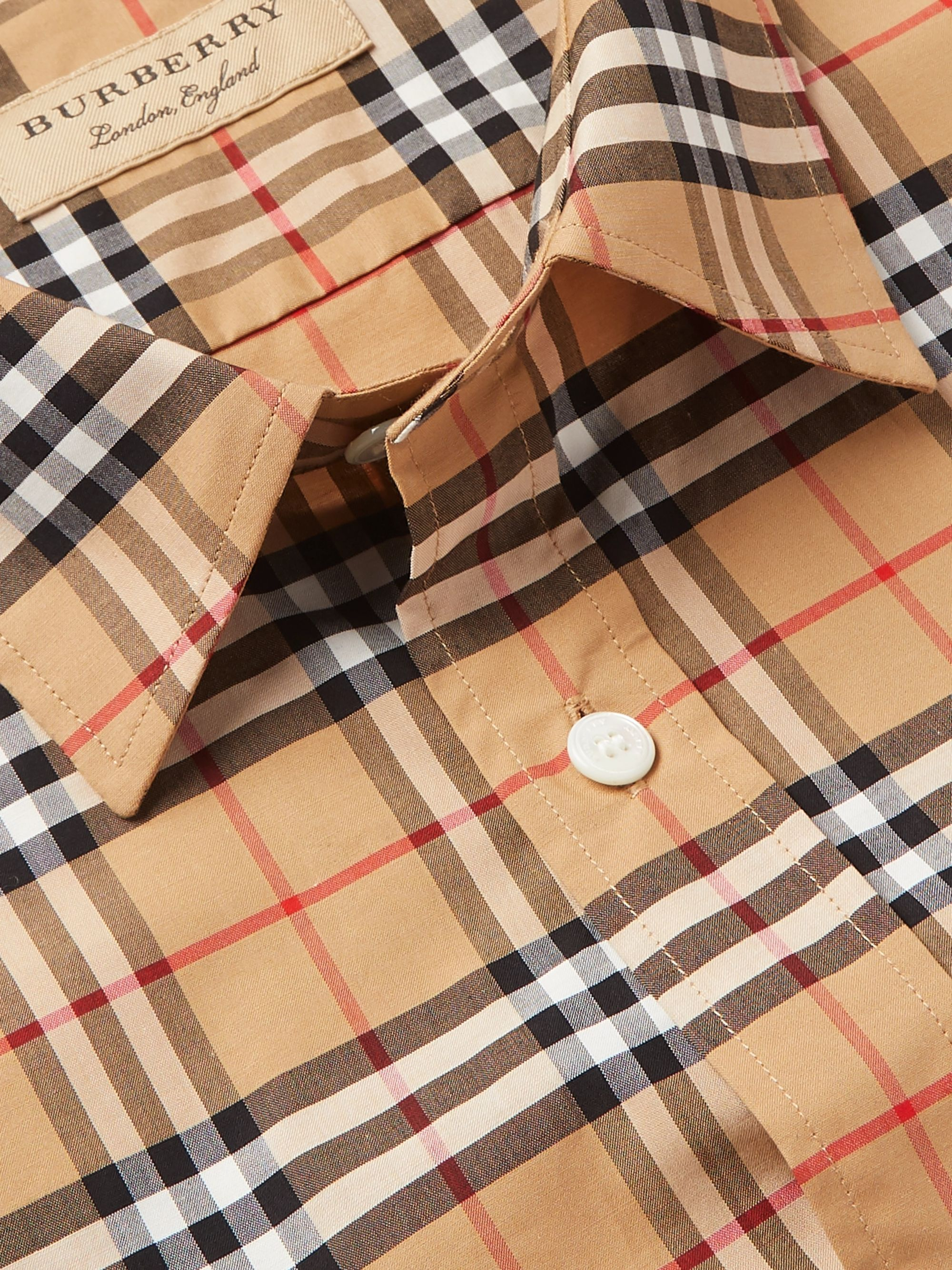Burberry Checked Stretch-Cotton Poplin Shirt