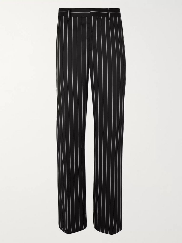 Burberry Black Wide-Leg Pinstriped Virgin Wool-Blend Suit Trousers