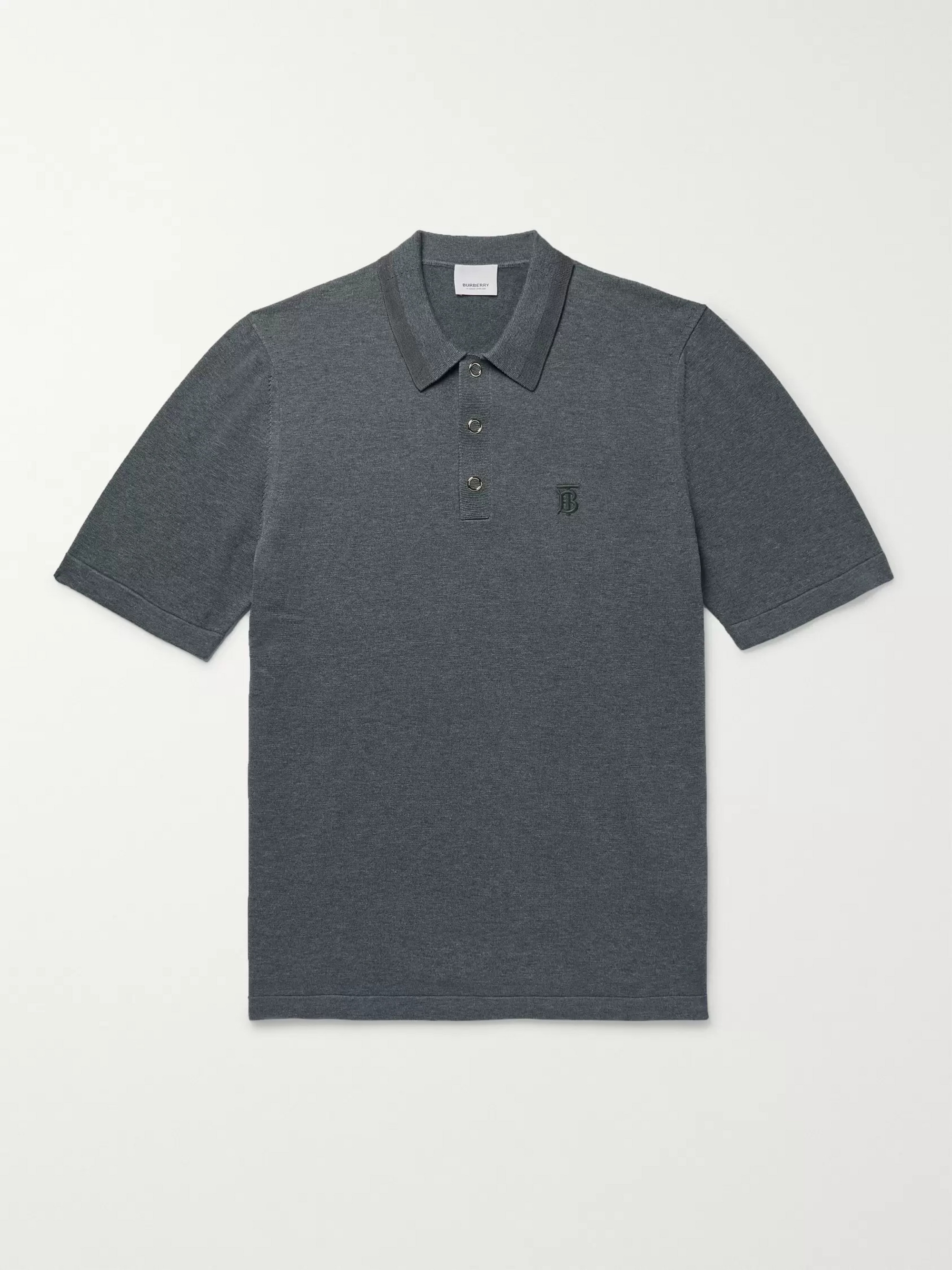 Burberry Contrast-Tipped Mélange Cotton Polo Shirt
