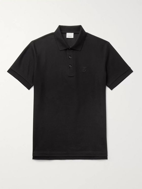 BURBERRY Slim-Fit Logo-Embroidered Cotton-Piqué Polo Shirt