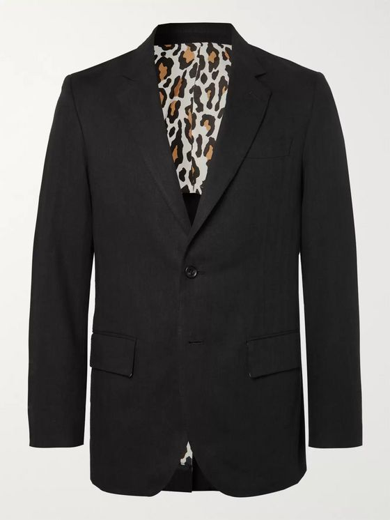 Wacko Maria Black Unstructured Herringbone Linen Suit Jacket