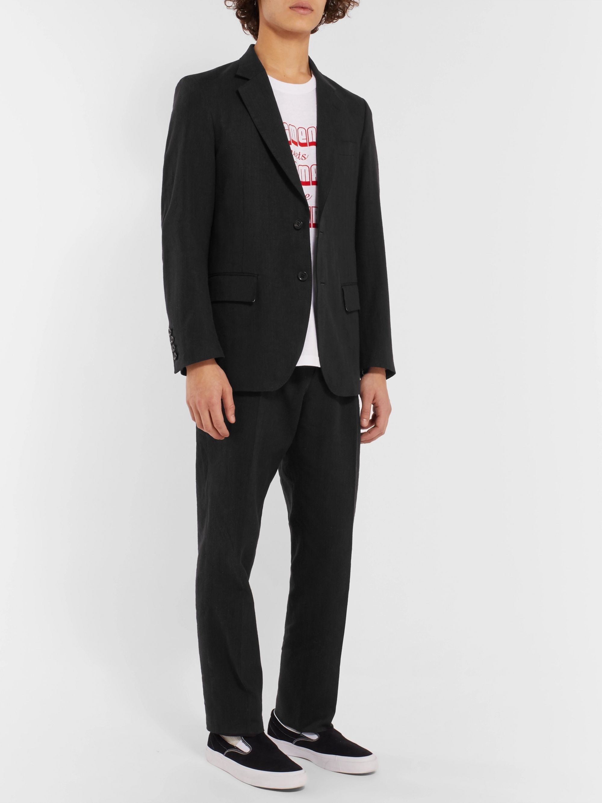 Wacko Maria Black Tapered Pleated Herringbone Linen Suit Trousers
