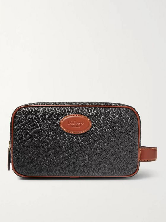 MULBERRY Leather-Trimmed Scotchgrain Wash Bag