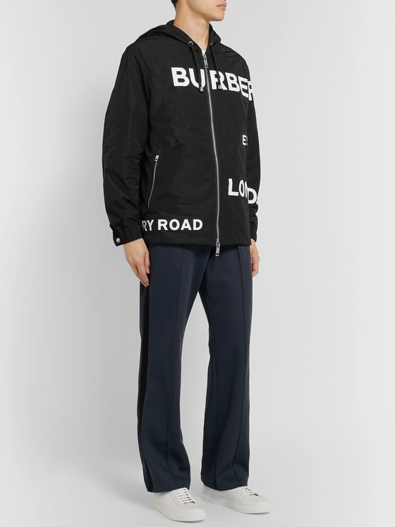 Burberry Logo-Print Shell Hooded Jacket