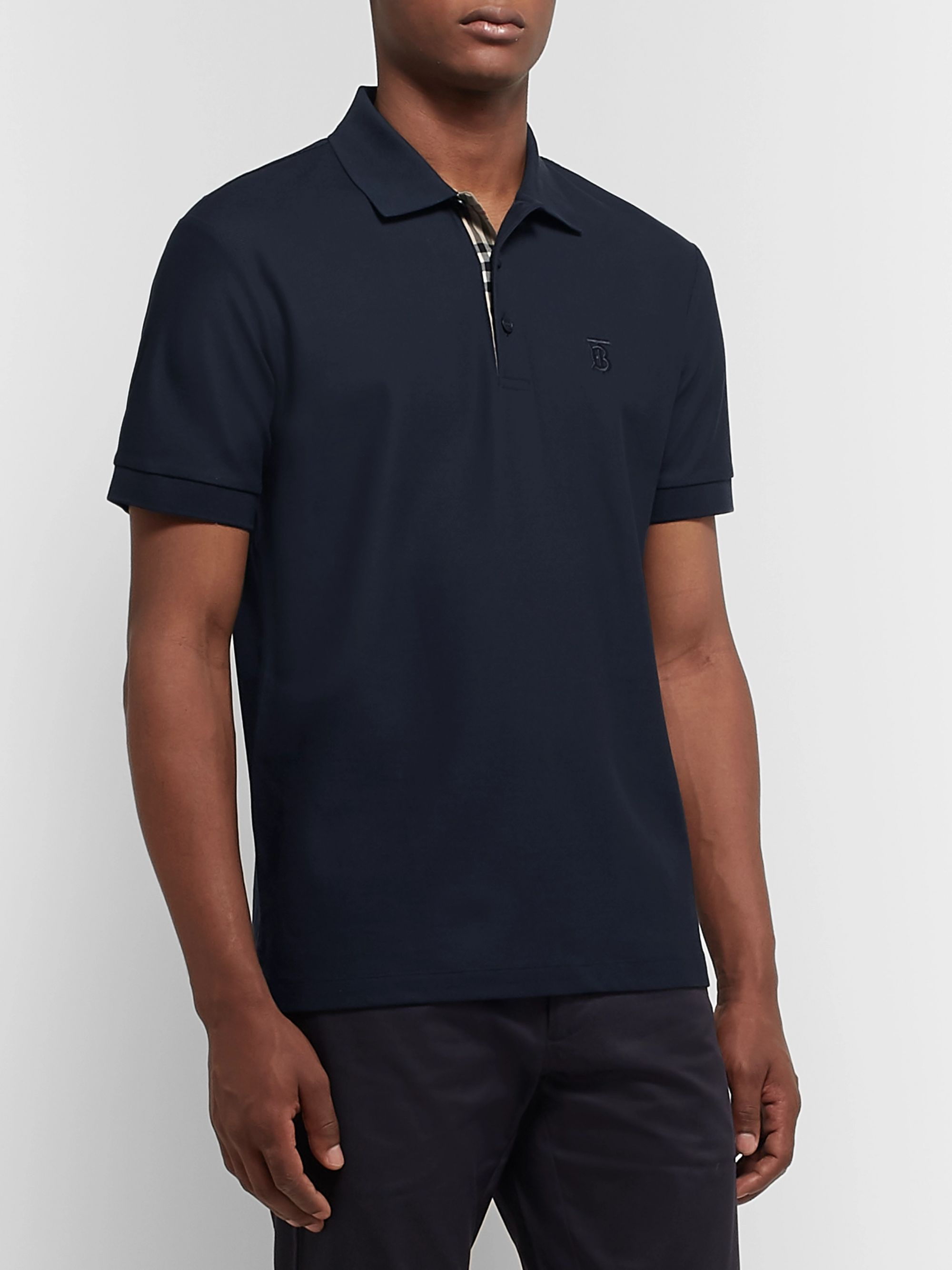 Burberry Logo-Embroidered Cotton-Piqué Polo Shirt