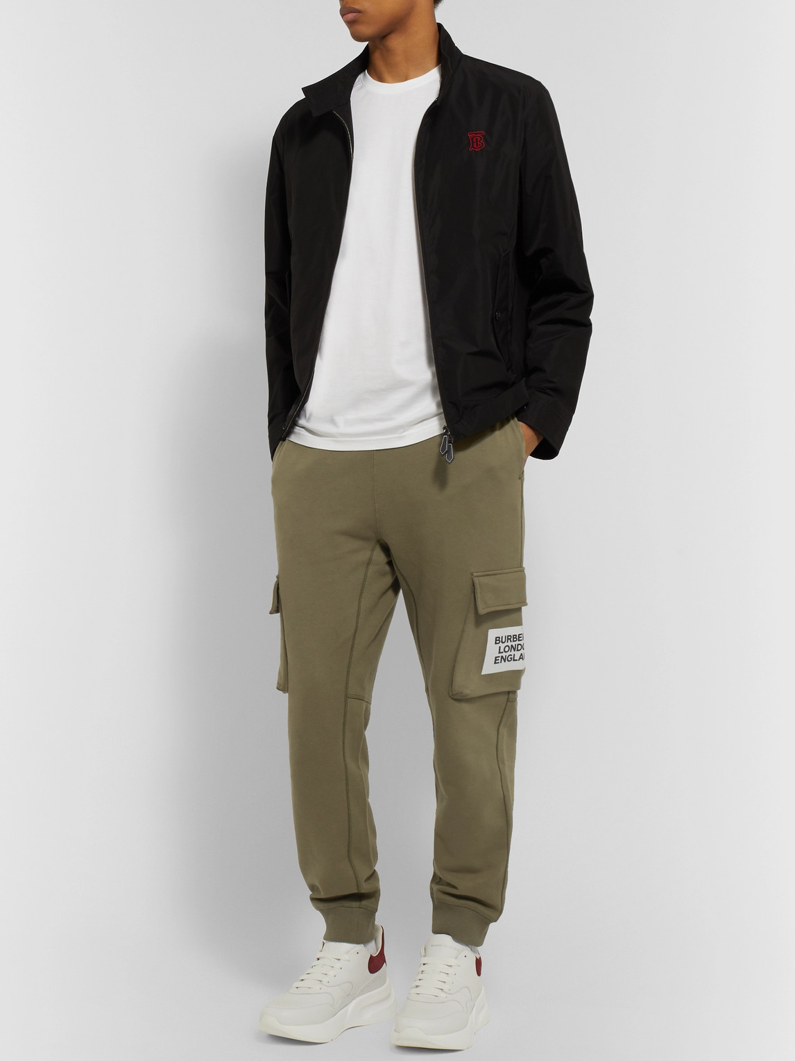 Burberry Pants TAPERED LOGO-PRINT LOOPBACK COTTON-JERSEY SWEATPANTS