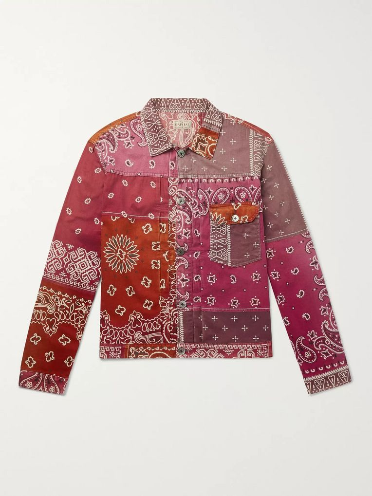 KAPITAL Patchwork Bandana-Print Denim Jacket