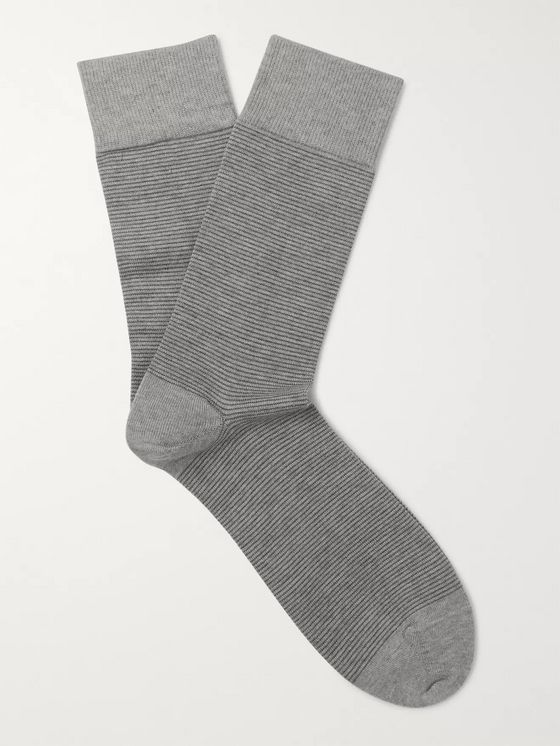 John Smedley Striped Sea Island Cotton-Blend Socks