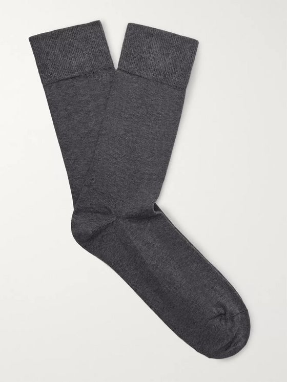 John Smedley Eros Sea Island Cotton-Blend Socks