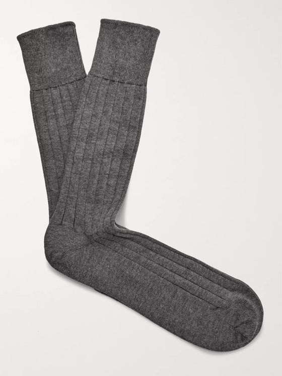 John Smedley Ribbed Sea Island Cotton-Blend Socks