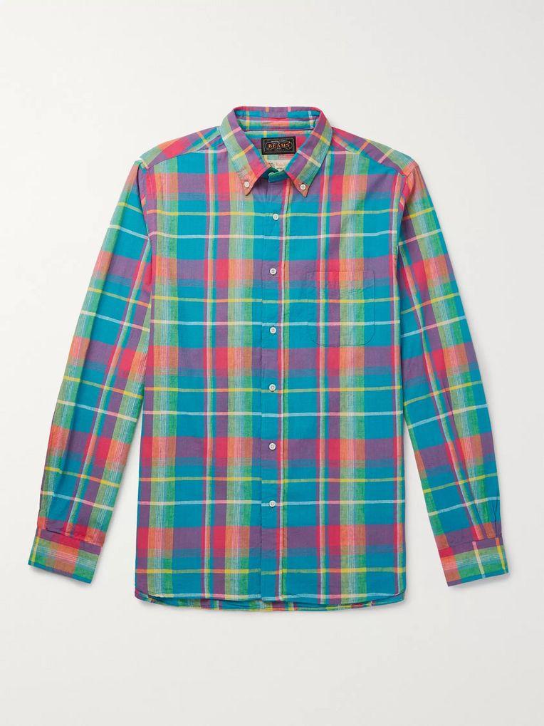 0274a7174c748 Button-Down Collar Checked Cotton Shirt