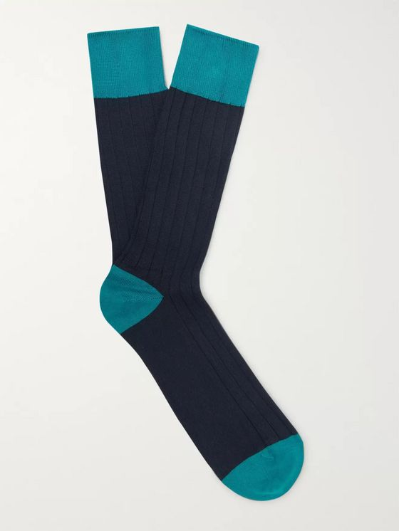 John Smedley Gamma Ribbed Sea Island Cotton-Blend Socks