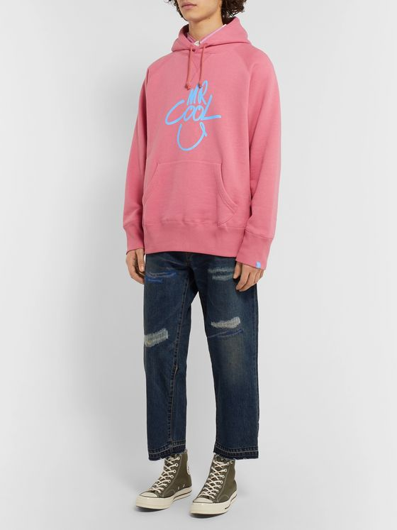 Beams Plus + Loopwheeler Printed Loopback Cotton-Jersey Hoodie
