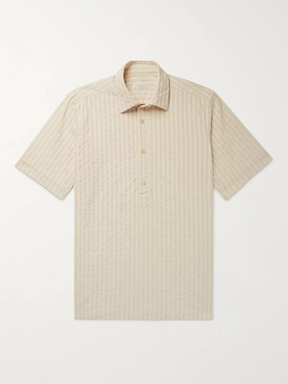 Incotex Striped Cotton and Linen-Blend Half-Placket Shirt