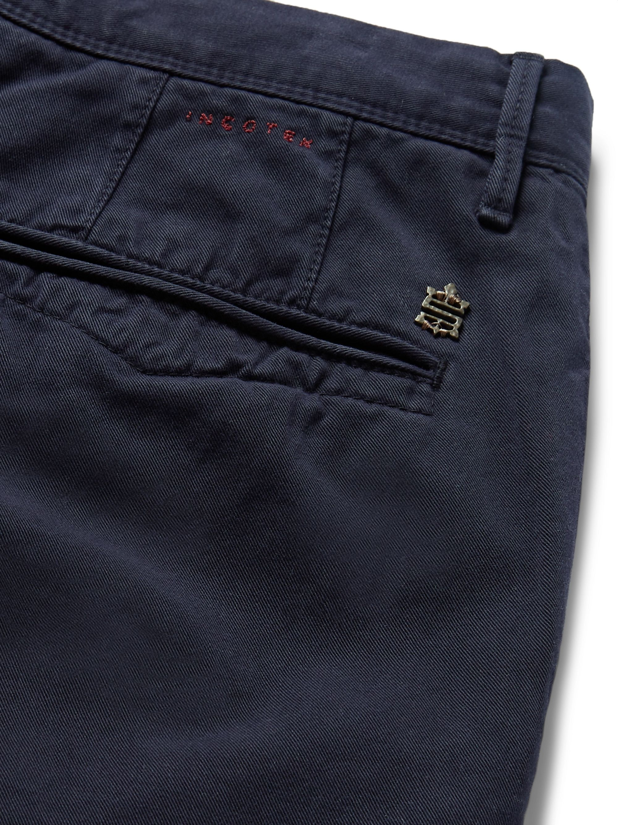 Incotex Navy Slim-Fit Cotton-Twill Chinos