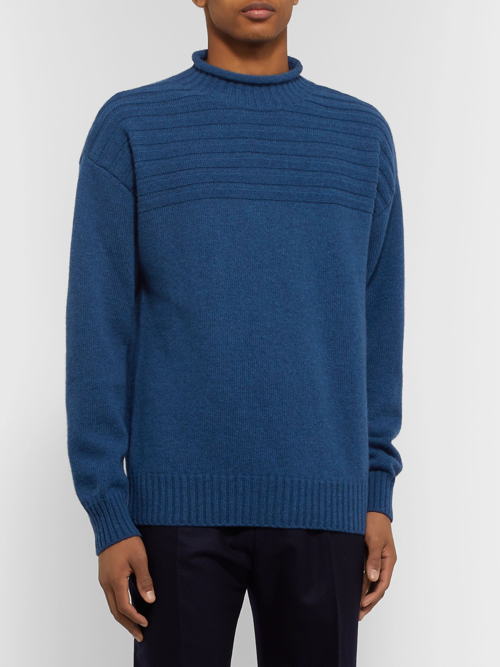 Mr P. Ribbed Virgin Wool Mock-Neck Sweater