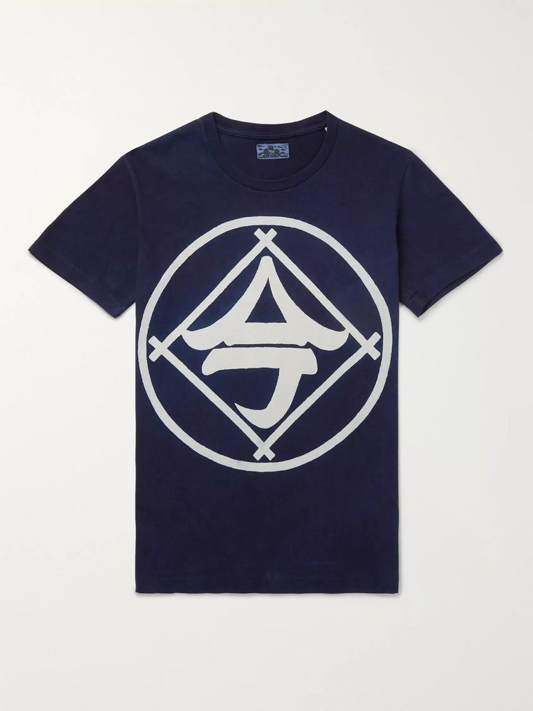 Blue Blue Japan Indigo-Dyed Printed Cotton-Jersey T-Shirt
