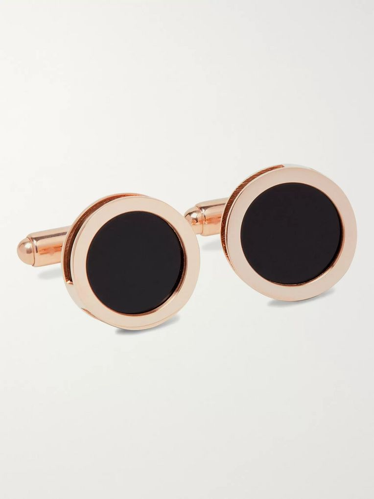 Lanvin Rose Gold-Plated Onyx and Mother-of-Pearl Cufflinks