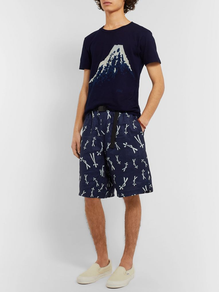 Blue Blue Japan Matsuba Wide-Leg Indigo-Dyed Linen Shorts