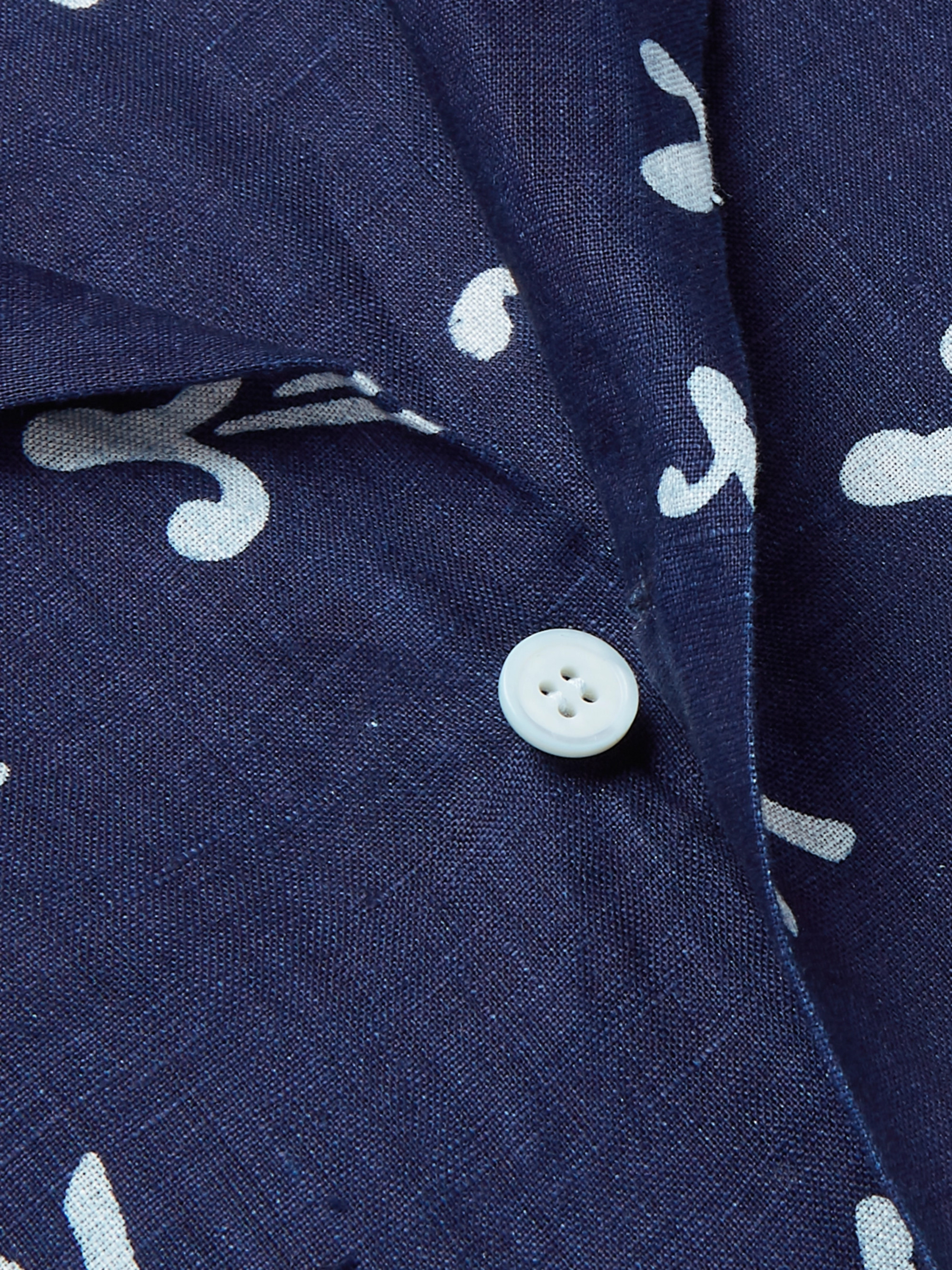Blue Blue Japan Matsuba Camp-Collar Indigo-Dyed Linen Shirt