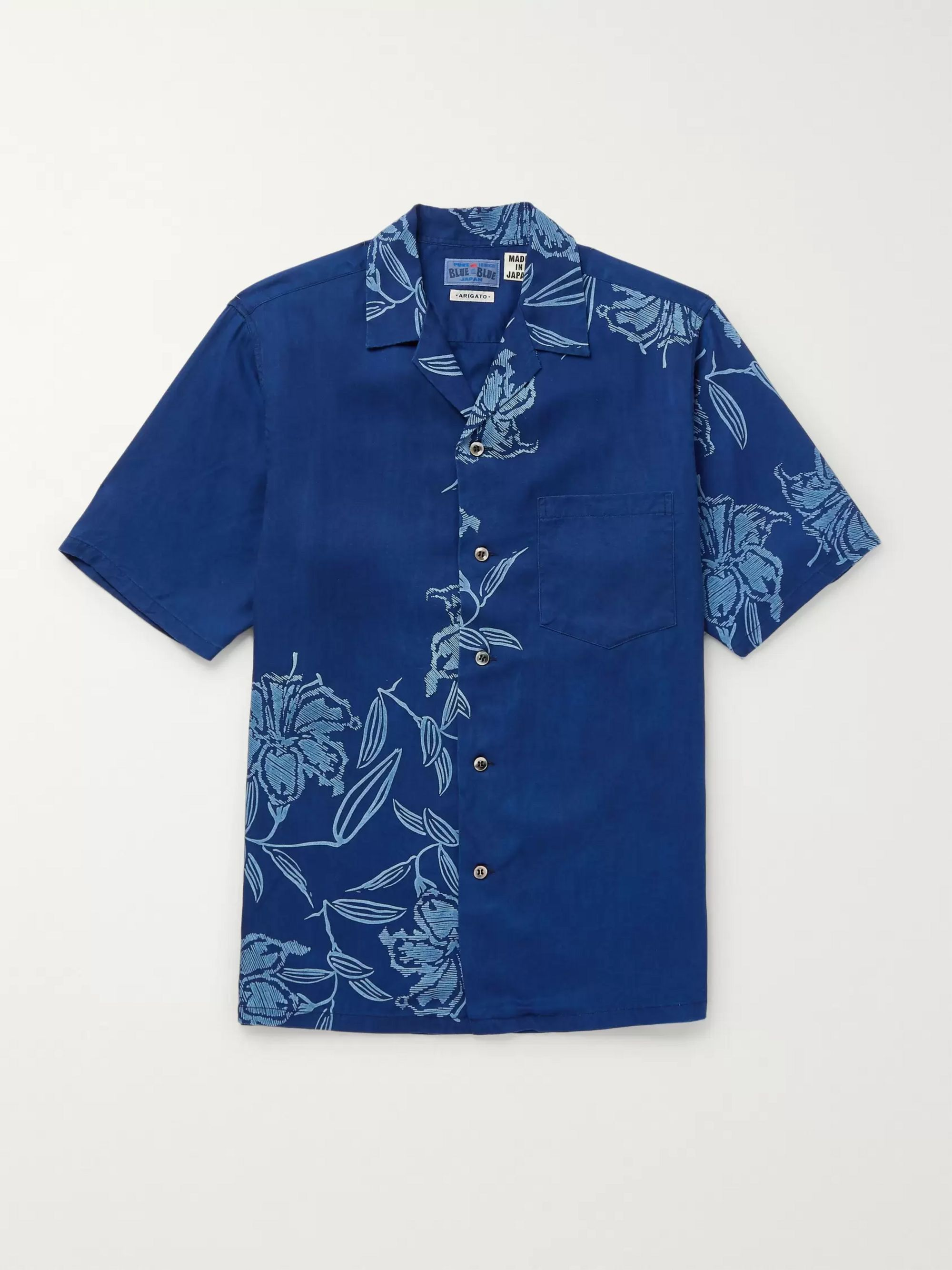 Blue Blue Japan Camp-Collar Printed Lyocell Chambray Shirt
