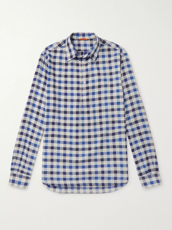Barena Checked Cotton and Linen-Blend Half-Placket Shirt